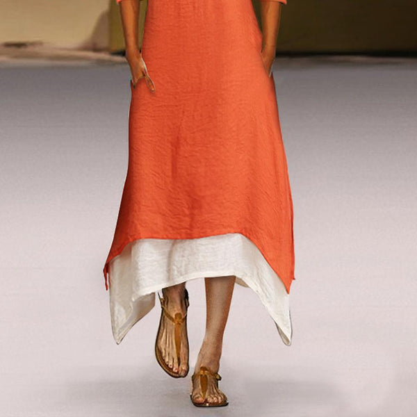 Cotton/Linen Contrast Color Casual  Maxi Dress With Pocket