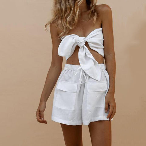 Sexy Knotted Wrapped Chest Pocket Shorts Suit