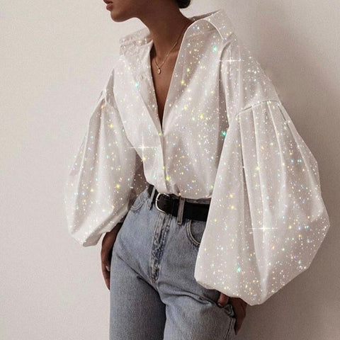 Fashion Sparkling Crystal Puff Sleeve Stitching Long-sleeved Shirt