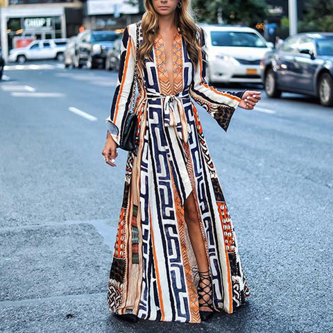 elegant deep v belted slit printed bell sleeves long maxi dress