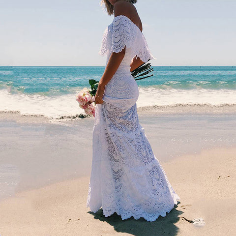 Sexy Boat Neck Off-Shoulder Lace Maxi Dresses