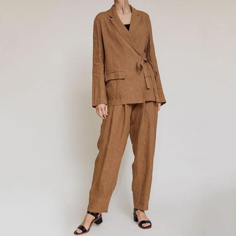 Side Lace-Up Suit Jacket Waist Pleated Straight Pants Two-Piece Suit