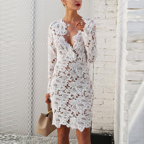 Bohemian Sexy Deep V Collar Lace Stitching Package Hip Bodycon Dress