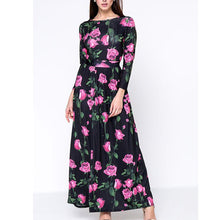 Graceful Swing Boat Neck Floral Printed Maxi Dress