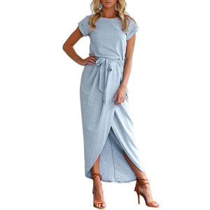 Round Neck  Asymmetric Hem  Belt  Plain Maxi Dresses