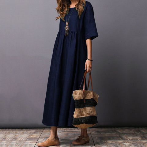 Round Neck  Plain  Cotton/Linen Casual Dress