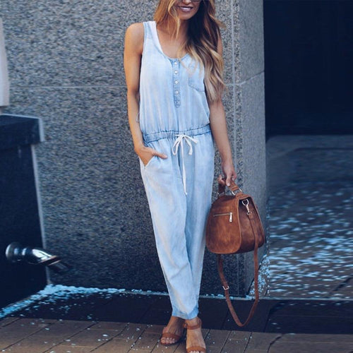 Spaghetti Strap  Belt Loops  Plain  Sleeveless Jumpsuits
