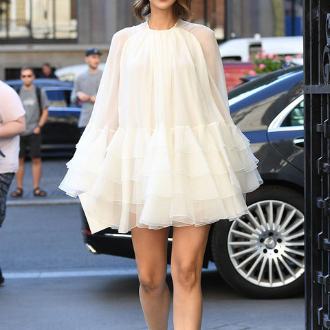 Elegant Ruffled White Casual Mini Dress
