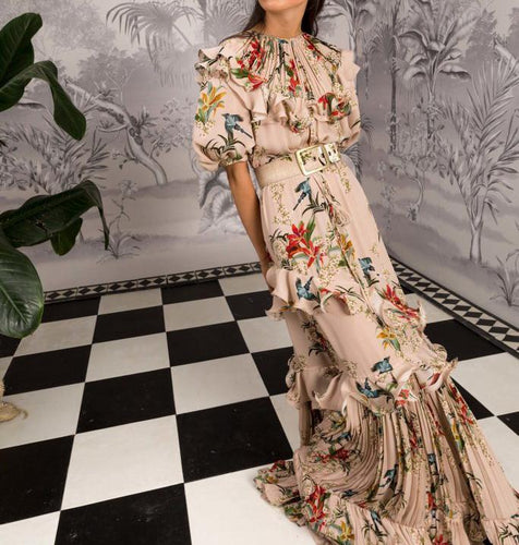 Sexy Floral Round Neck Puff Medium Sleeve Ruffled Joint Maxi Dress