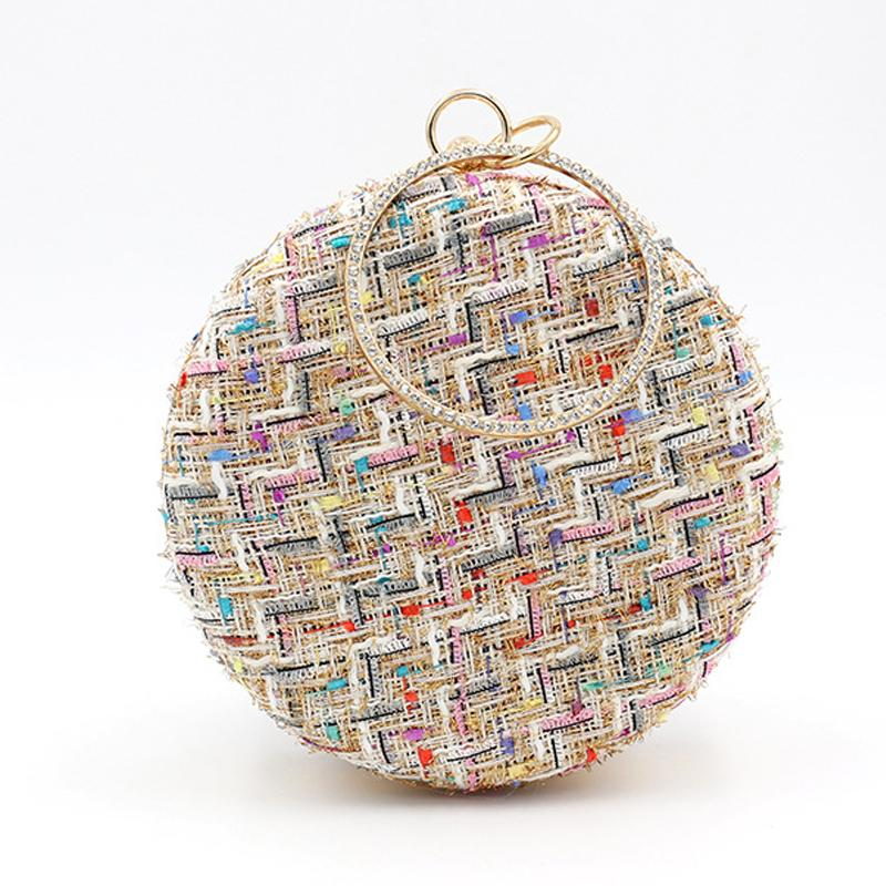 Fashion Color Block Round Hand Bag