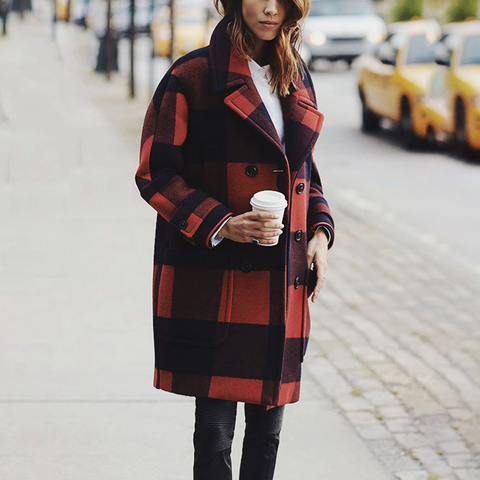 Fashion Plaid Print Loose Wild Coat