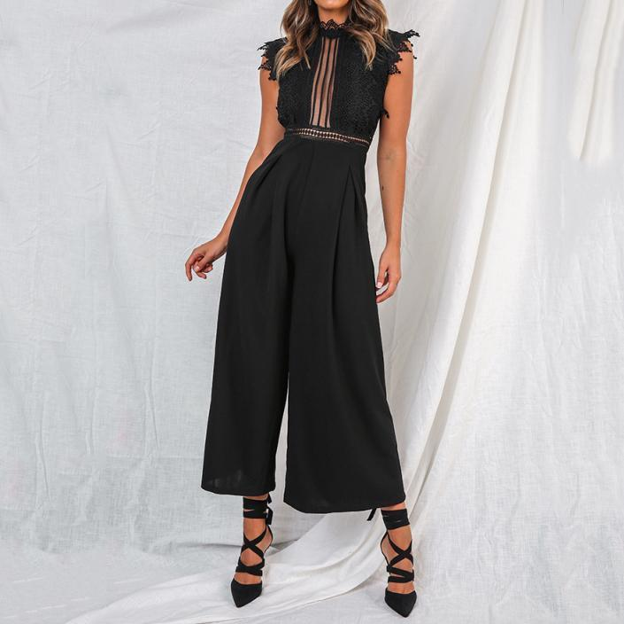 Sexy Lace Lapel Backless Sleeveless Hollow-Out Jumpsuits