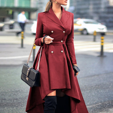 Fashion Casual Lapel Long Sleeve Double Breasted Trench Coat