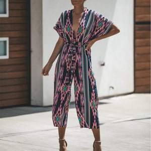 Deep V Floral Print Sexy Short Sleeve Jumpsuit