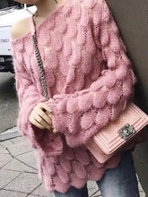 Mohair Sweater Hollow Sweater Loose Round Neck Long Sleeve Sweater