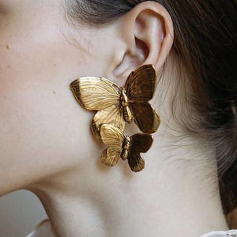 Fashion Exaggerated Two Butterfly Alloy Earrings