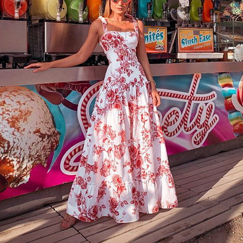 Sexy Spaghetti Strap Printed Sleeveless Vacation Maxi Dress