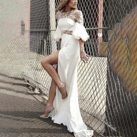 Front Slit Ruffled Sleeves Long Dress