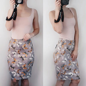 Fashion Sexy Printed Flannelette Forked Skirt One-Step Skirt With Butt Skirt