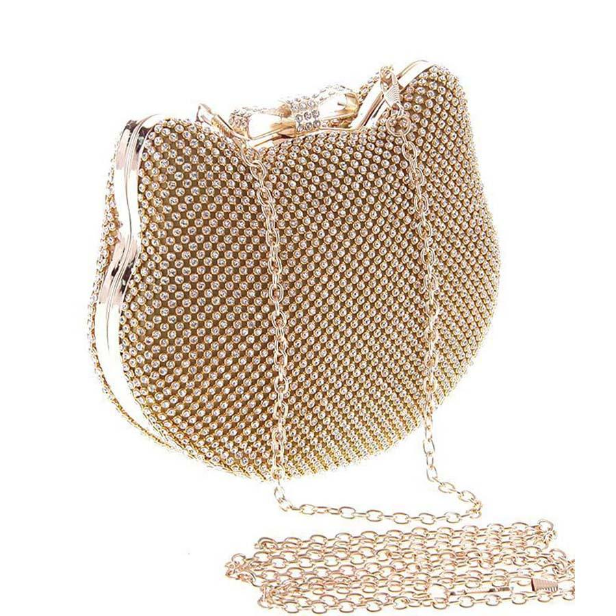Kitty Shape Diamante Clutch Bag