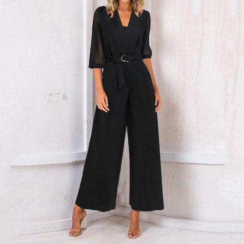 High-Rise Chiffon Cropped Sleeve Wide-Leg Jumpsuit
