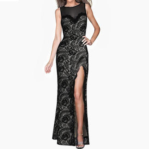 Round Neck Lace High Slit See-Through Evening Dress
