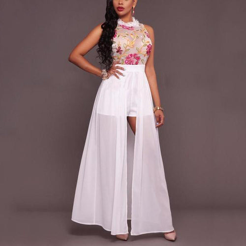 Sleeveless Perspective Embroidered Evening Dress