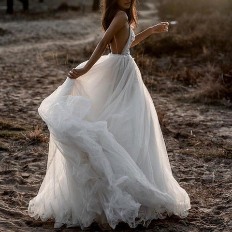 Sexy Sling Deep V-neck Wedding Dress