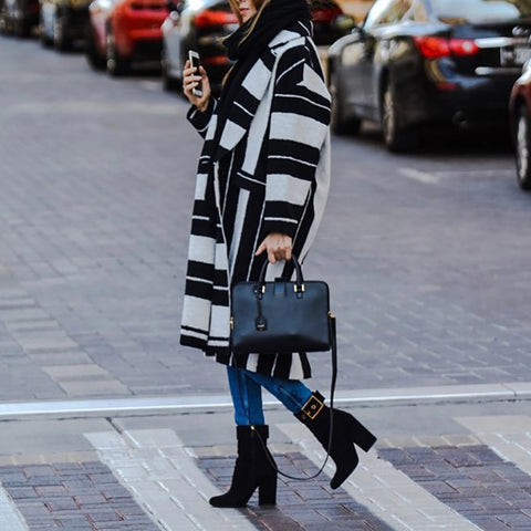 Thick Striped Long Coat
