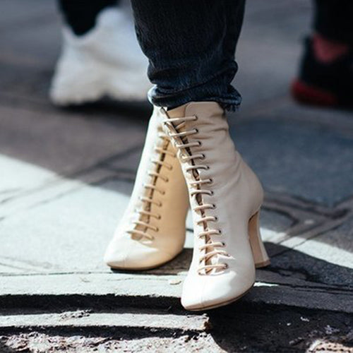 Autumn and winter new slim with Martin boots high heel laces boots Europe and America wild round head zipper bare boots