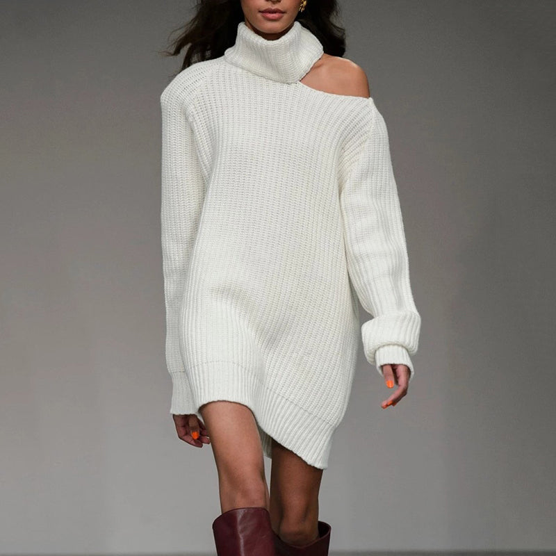 Fashion Sexy High Collar Off-Shoulder Sweater