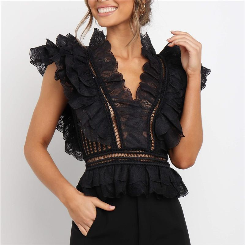 Sexy V-Neck Lace Openwork Backless Sleeveless Slim T-Shirts