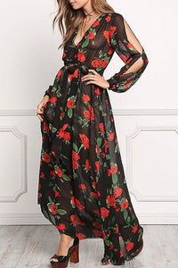 Deep V Neck Belt Floral Chiffon Maxi Dress