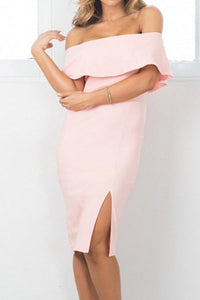 Pink Off Shoulder Slit Bodycon Dress