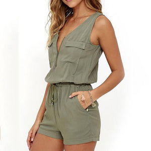 Casual Army-Green V Neck Sleeveless Lace-Up Short Romper