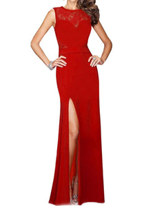 Round Neck High Slit Hollow Out Plain Evening Dress
