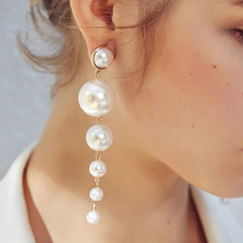 Fashion Imitation Pearl Pendant Earrings