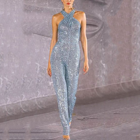 Solid Cross Neck Sequined Jumpsuit