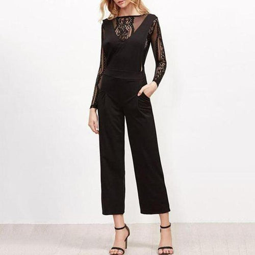 Lace See Through Plain Jumpsuit