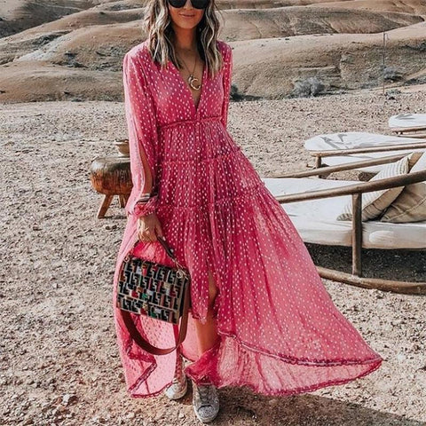 Boho V Neck Long Sleeve Polka Dot Pleated Dress
