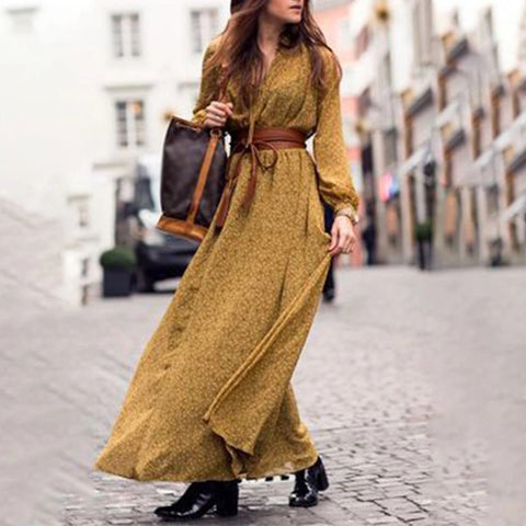 Casual Printed Long Puff Sleeves Ankle-length V Neck Dress
