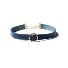 Metal Ring Denim Choker Necklace