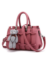 Little Bear Candy Color Weave Stylish Pu Crossbody Bag