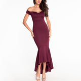 Off Shoulder Plain Mermaid Evening Dress