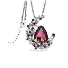 Moon Shape Crystal Pendant Long Necklace