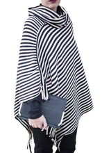 Cowl Neck  Striped  Tassel Cape  Sweaters