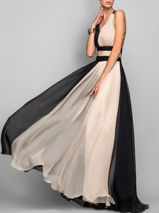Deep V-Neck  Color Block  Chiffon Evening Dress