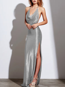 Halter High Slit Plain Evening Dress