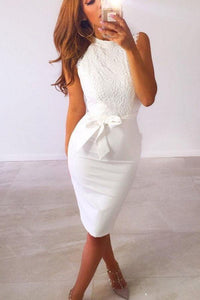 Decorative Lace  Plain  Sleeveless Bodycon Dresses