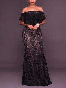 Sexy Cutaway Shoulder Lace Evening Dress